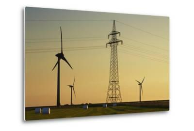 Wind Energy Plant and Power Pole-Frank Krahmer-Metal Print