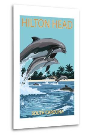 Hilton Head, South Carolina - Dolphins Jumping-Lantern Press-Metal Print