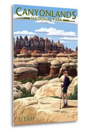 Canyonlands National Park, Utah - Hiker Scene-Lantern Press-Metal Print