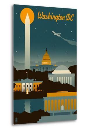 Washington, DC - Retro Skyline-Lantern Press-Metal Print
