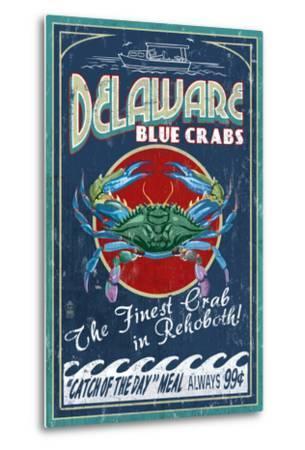 Rehoboth, Delaware - Blue Crabs Vintage Sign-Lantern Press-Metal Print