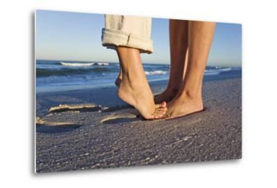 Feet of Couple Hugging on Beach-Martin Harvey-Metal Print