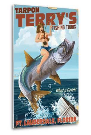 Ft. Lauderdale, Florida - Pinup Girl Tarpon Fishing-Lantern Press-Metal Print