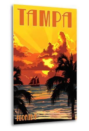 Tampa, Florida - Sunset and Ship-Lantern Press-Metal Print