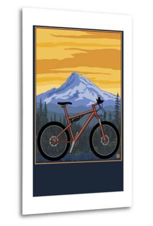 Mountain Bike Scene-Lantern Press-Metal Print