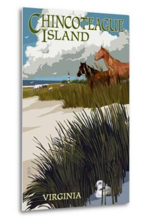 Chincoteague Island, Virginia - Horses and Dunes-Lantern Press-Metal Print