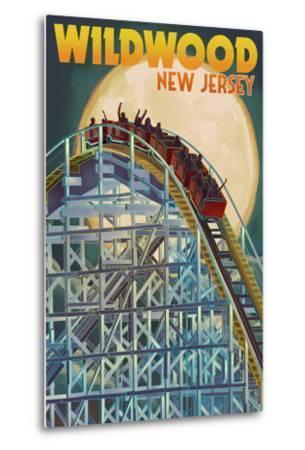 Wildwood, New Jersey - Roller Coaster and Moon-Lantern Press-Metal Print