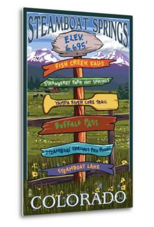 Steamboat Springs, Colorado - Destination Sign-Lantern Press-Metal Print