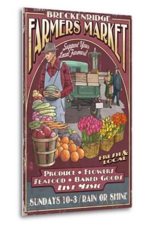 Breckenridge, Colorado - Farmers Market Vintage Sign-Lantern Press-Metal Print