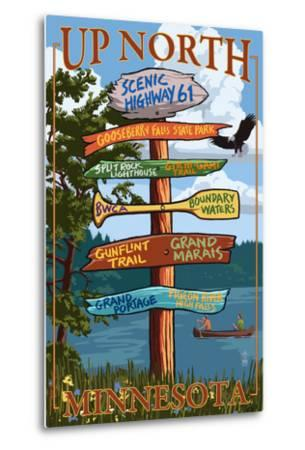 Gooseberry Falls, Minnesota - Destination Signpost-Lantern Press-Metal Print