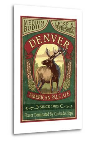Denver, Colorado - Elk Head Pale Ale Vintage Sign-Lantern Press-Metal Print
