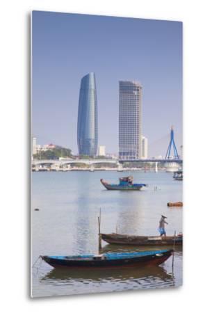 Song River and City Skyline, Da Nang, Vietnam, Indochina, Southeast Asia, Asia-Ian Trower-Metal Print