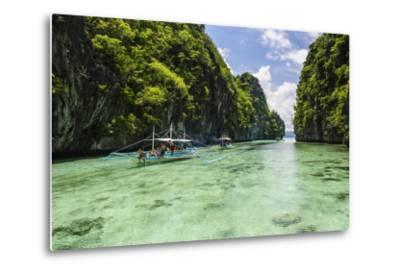 Outrigger Boats in the Crystal Clear Water in the Bacuit Archipelago, Palawan, Philippines-Michael Runkel-Metal Print