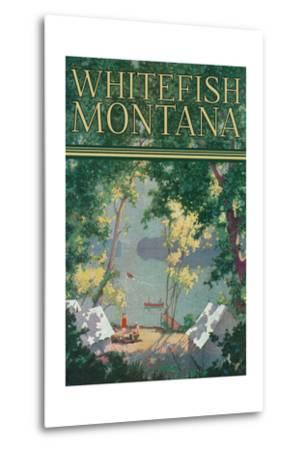 Whitefish, Montana - Scenic View of a Campground by a Lake - Poster-Lantern Press-Metal Print