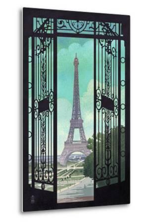 Paris, France - Eiffel Tower and Gate Lithograph Style-Lantern Press-Metal Print