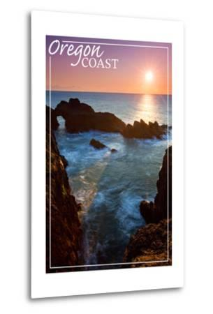 Oregon Coast - Rocky Cove and Sunset-Lantern Press-Metal Print