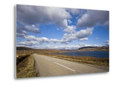 Landscape with Road, Lake and Clouds,Scotland, United Kingdom-Stefano Amantini-Metal Print