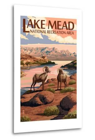 Lake Mead - National Recreation Area - Bighorn Sheep-Lantern Press-Metal Print