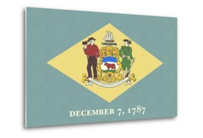 Delaware State Flag-Lantern Press-Metal Print