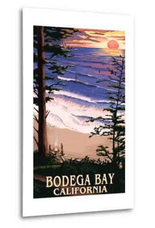 Bodega Bay, California - Sunset and Beach-Lantern Press-Metal Print