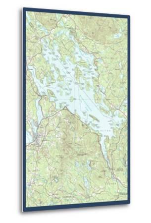 Lake Winnipesaukee, New Hampshire - Map Only-Lantern Press-Metal Print