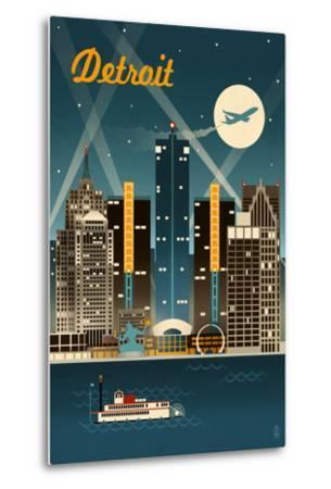 Detroit, Michigan - Retro Skyline-Lantern Press-Metal Print