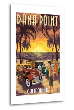 Dana Point, California - Woodies on the Beach-Lantern Press-Metal Print