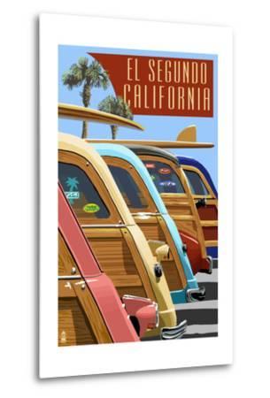 El Segundo, California - Woodies Lined Up-Lantern Press-Metal Print