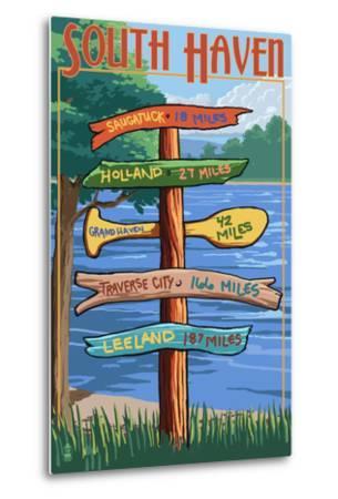 South Haven, Michigan - Sign Destinations-Lantern Press-Metal Print