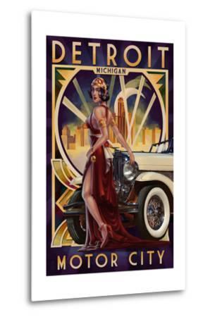 Detroit, Michigan - Deco Woman and Car-Lantern Press-Metal Print