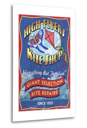 Kite Shop - Vintage Sign-Lantern Press-Metal Print