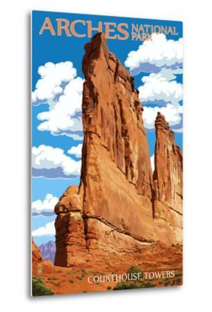 Arches National Park, Utah - Courthouse Towers-Lantern Press-Metal Print