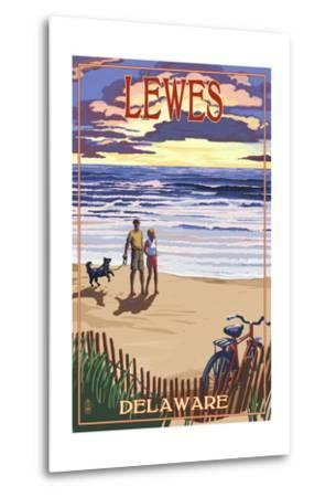 Lewes, Delaware - Beach and Sunset-Lantern Press-Metal Print