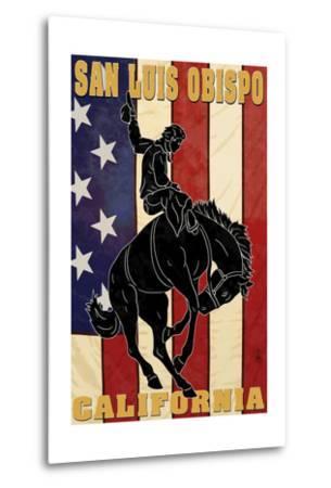 San Luis Obispo, California - Bronco and Star-Lantern Press-Metal Print