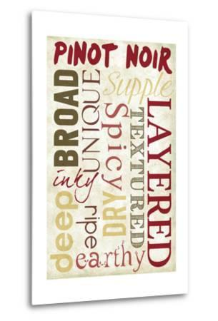 Pinot Noir Typography-Lantern Press-Metal Print