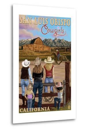 San Luis Obispo, California - Cowgirls-Lantern Press-Metal Print
