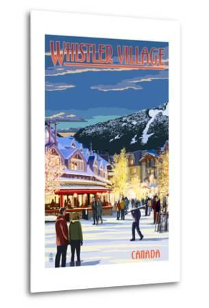 Village Scene - Whistler, Canada-Lantern Press-Metal Print