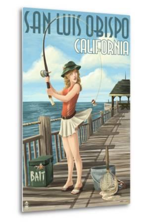 San Luis Obispo, California - Pinup Girl Fishing-Lantern Press-Metal Print