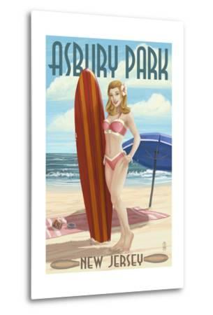 Asbury Park, New Jersey - Surfer Pinup Girl-Lantern Press-Metal Print