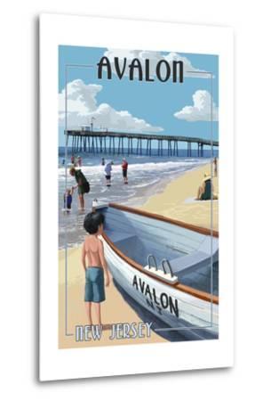 Avalon, New Jersey - Lifeboat-Lantern Press-Metal Print