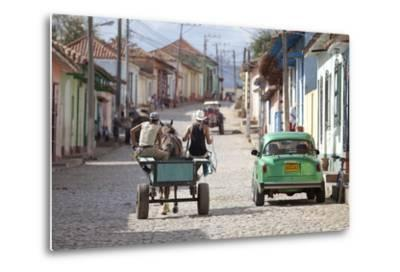 Horse and Cart and Vintage American Car on Cobbled Street in the Historic Centre of Trinidad-Lee Frost-Metal Print