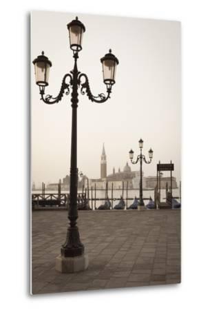 Gondolas Moored on the Lagoon, San Giorgio Maggiore Beyond, Riva Degli Schiavoni-Amanda Hall-Metal Print