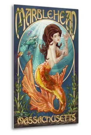 Marblehead, Massachusetts - Mermaid-Lantern Press-Metal Print