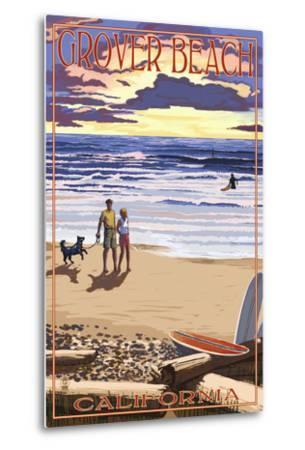 Grover Beach, California - Sunset Beach Scene-Lantern Press-Metal Print