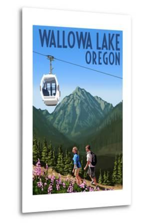 Wallowa Lake, Oregon - Mountain and Gondola-Lantern Press-Metal Print
