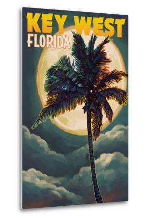Key West, Florida - Palms and Moon-Lantern Press-Metal Print