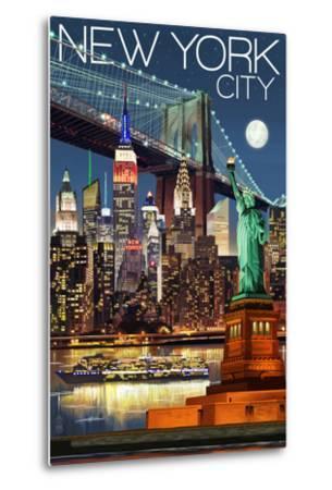 New York City, NY - Skyline at Night-Lantern Press-Metal Print