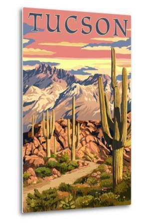 Tucson, Arizona Sunset Desert Scene-Lantern Press-Metal Print