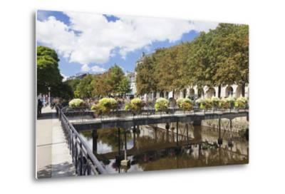 The River Odet and a Flower Decorated Bridge, Quimper, Finistere, Brittany, France, Europe-Markus Lange-Metal Print