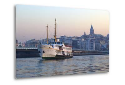 Ferry Boat in Golden Horn with Galata Tower in Background, Istanbul, Turkey, Europe-Neil Farrin-Metal Print